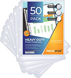 Performore Heavy Duty Clear Sheet Protectors, Top Load, Pack of 50, Reinforced 3 Hole Design, for 8.5 x 11 Inches Sheets, Acid Free, Archival Safe