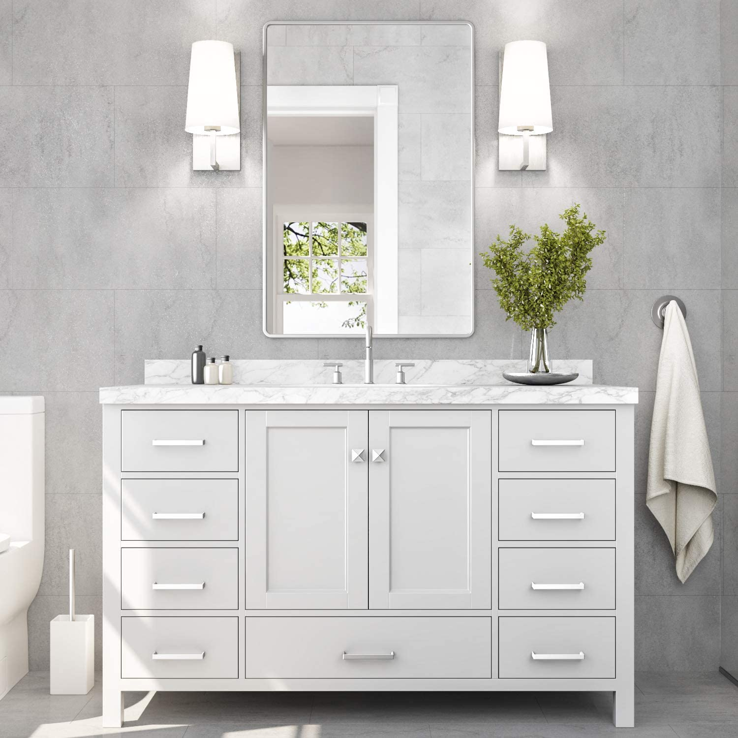 Amazon Com Ariel Bathroom Vanity 55 Inch With Carrara White Marble Countertop And Oval Sink In White 2 Soft Closing Doors 9 Full Extension Dovetail Drawers With Backsplash No Mirror Kitchen Dining