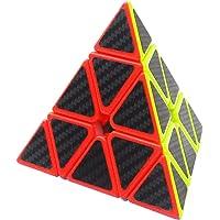 Coolzon® Triangle 3x3 Pyramid Pyraminx Magic Puzzle Speed Cube Brain Teaser Twist Toy Carbon Fiber Sticker for Speedcubing, Black
