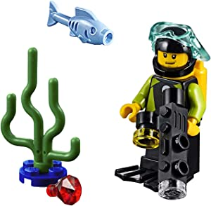 LEGO City Minifigure - Male Diver in Wetsuit (with Camera, Fish, and Sea Plant) 60221