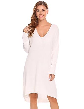 4371e9291b7b ELESOL Women Winter Thick Sweater Dress Casual Knee Length Pullover Tunic  Sweater White L