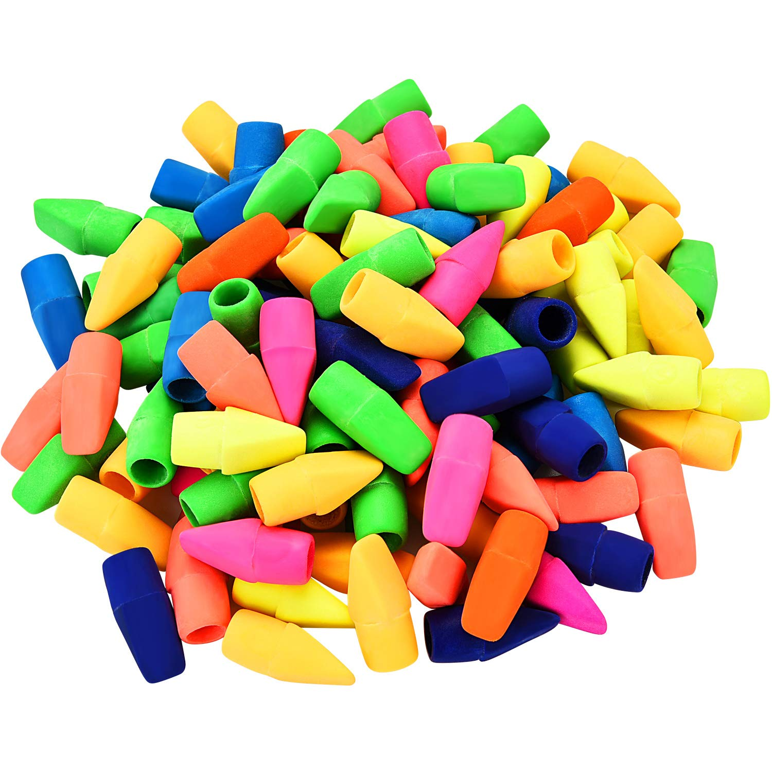 TecUnite 200 Pieces Pencil Eraser Caps Pencils Top Erasers for Kids Students Learning, Assorted Colors by TecUnite (Image #1)