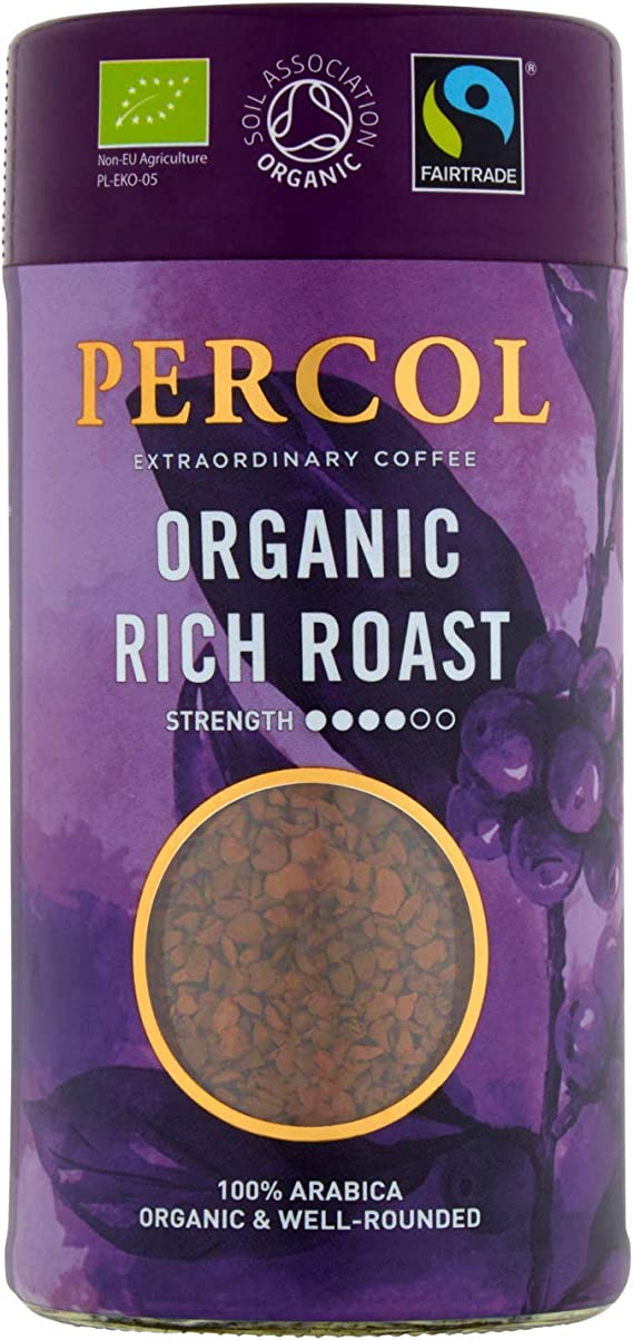 Percol Fairtrade Organic Rich Roast Instant Coffee Certified Organic Strong Dark Well Rounded Blend With 100 Arabica Beans 100g 6 Pk