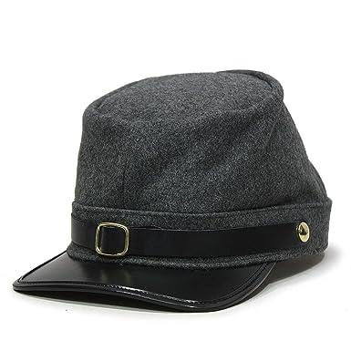 434e103fec1 Amazon.com  American Civil War Kepi Adjustable Army Hat Wool (Confederate  (Gray))  Clothing