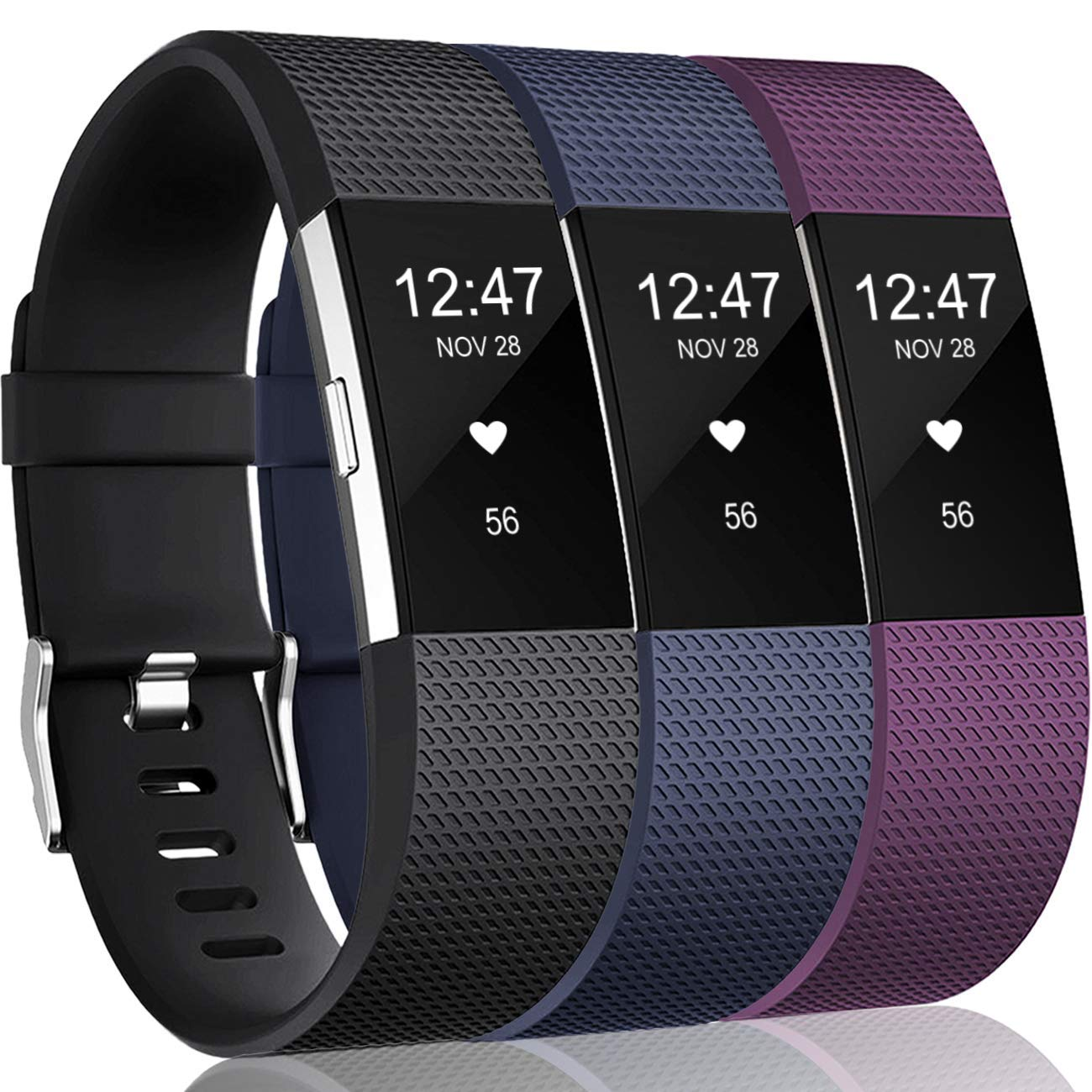 3 Mallas Small para Fitbit Charge 2 Azul marino / Negro / Ci