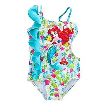 97af212d9a097 Disney ディズニー プリンセス リトルマーメイド 女の子用 水色フリル付きアリエルワンピース水着 (4(