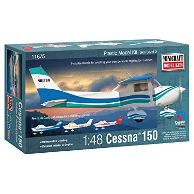 Minicraft Cessna 150 with Multiple Marking Options Model Kit, 1/48 Scale: Toys & Games