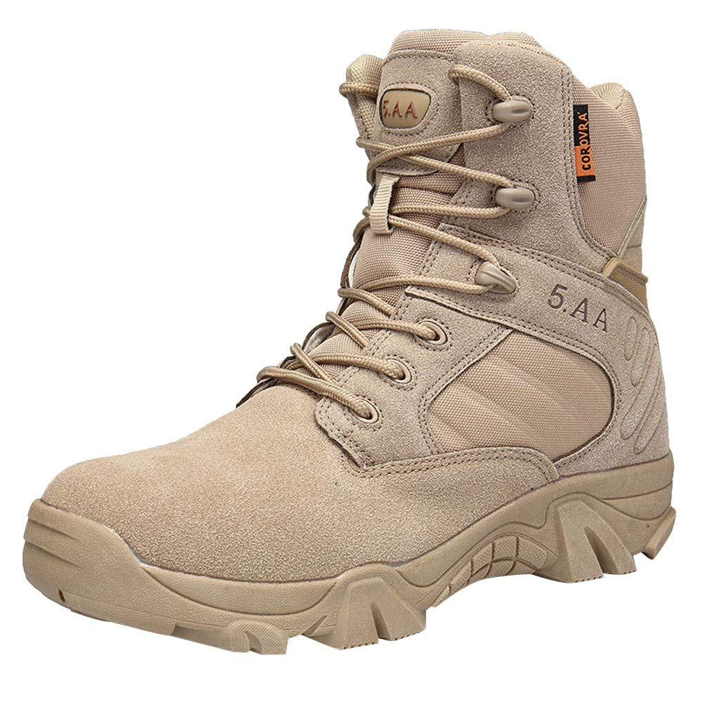HOSOME Men Climbing Hiking Boots Wear-Resisting Non-Slip Outdoor Military Boots Khaki