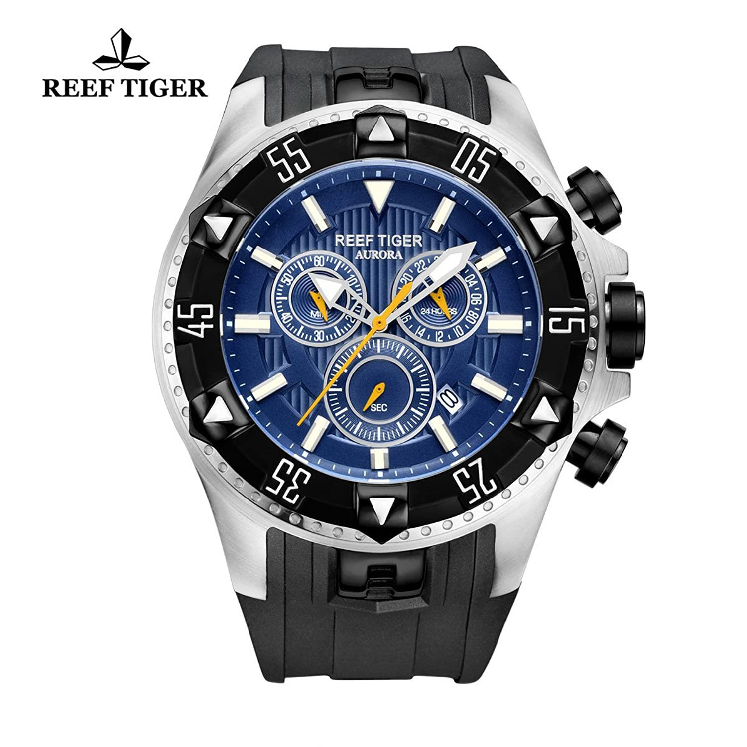 Reef Tiger Herren Sport Uhr mit Chronograph Datum Big Zifferblatt Super Luminous Quarz Uhren rga303