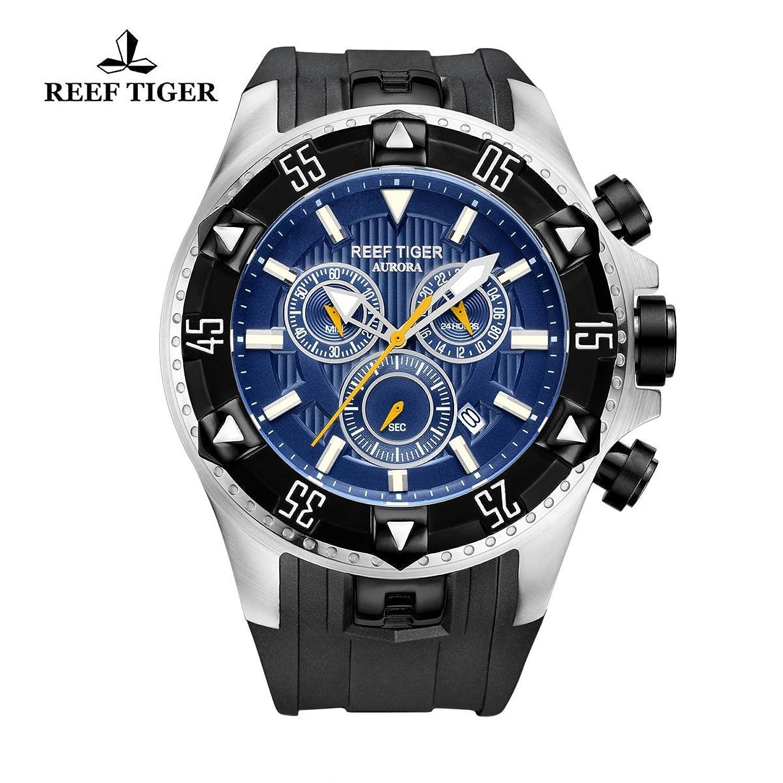 Reef Tiger Herren Sport Uhr mit Chronograph Datum Big Zifferblatt Super Luminous Quarz Uhren rga303