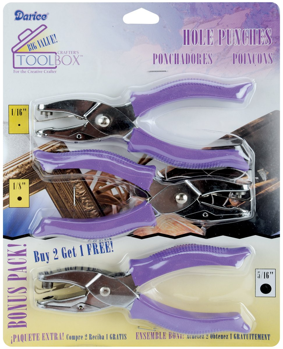 Darice Scrapbooking Hole Punches, Purple Grips, 1 x 5/16-Inch, Pack of 3 1201-14
