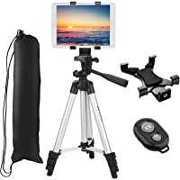 "Tablet Tripod, PEYOU 42"" inch Portable Lightweight Adjustable Aluminum Camera Tablet Tripod + Universal Mount Tablet Holder + Bluetooth Wireless Remote Shutter Compatible for iPad Samsung Kindle Fire"