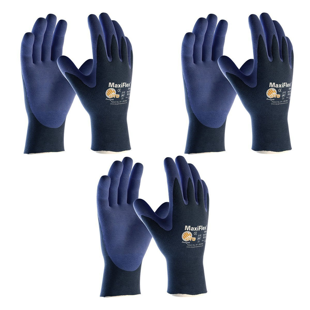 Elite MaxiFlex 34-274 Ultra Light Weight Glove with Nitrile Coated Grip on Palm and Fingers, (Sizes S-XL), Small, 3 Piece by Elite (Image #1)