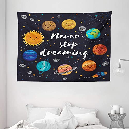 Ambesonne Saying Tapestry, Outer Space Planets Star Cluster Solar System Moon Comets Sun Cosmos Illustration, Wide Wall Hanging for Bedroom Living Room Dorm, 80 X 60 , Navy Orange