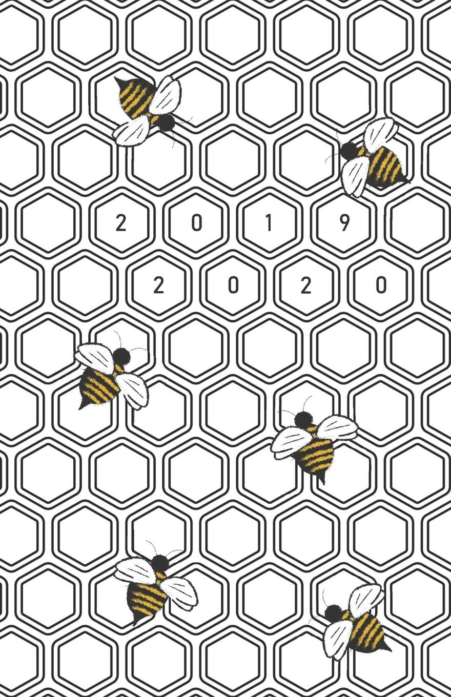 2019 - 2020: Modern Hexagon Design Bees Themed / 18 Month ...