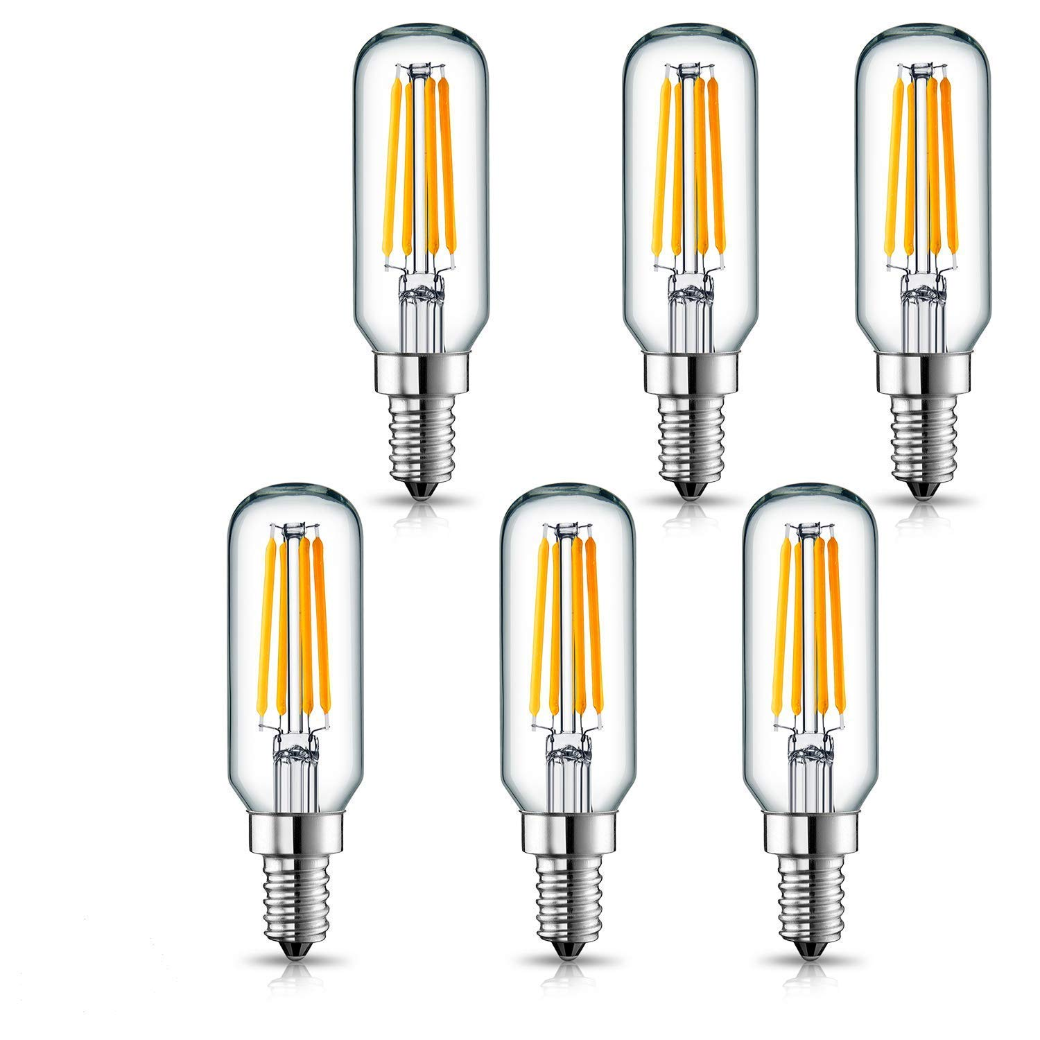 E12 Base 4W Warm White 3000K 40W-60W Incandescent Replacement 12PACK-T25-3000K Rekabel Dimmable Tubular LED Bulb TP-T25-4W-3000K-12