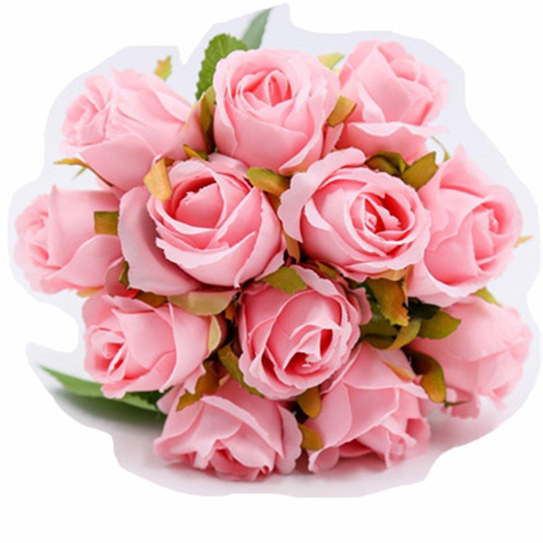 Susan1999 12Pcs/Lots Artificial Rose Flowers Wedding Bouquet White Pink Thai Royal Silk Flowers Home Decoration Wedding Party