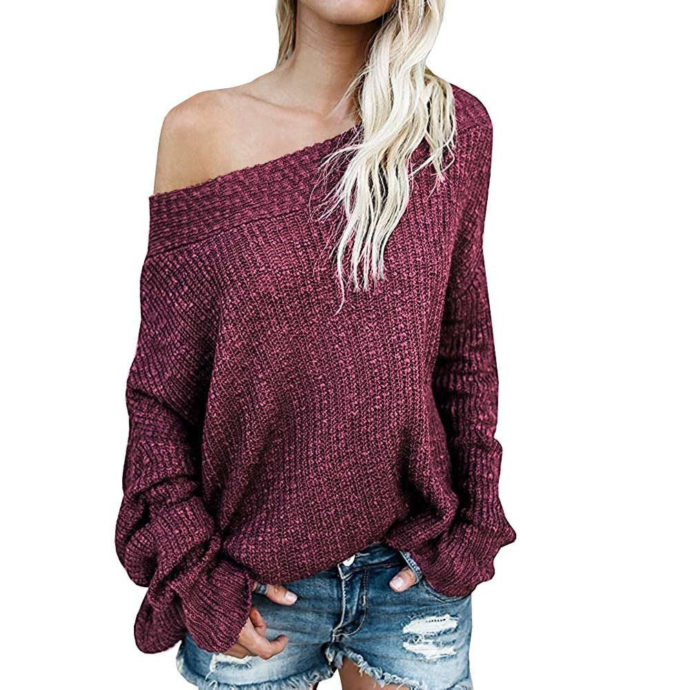 Exlura Women's Off Shoulder Batwing Sleeve Loose Oversized Pullover Sweater Knit Jumper WATP024-1709-US