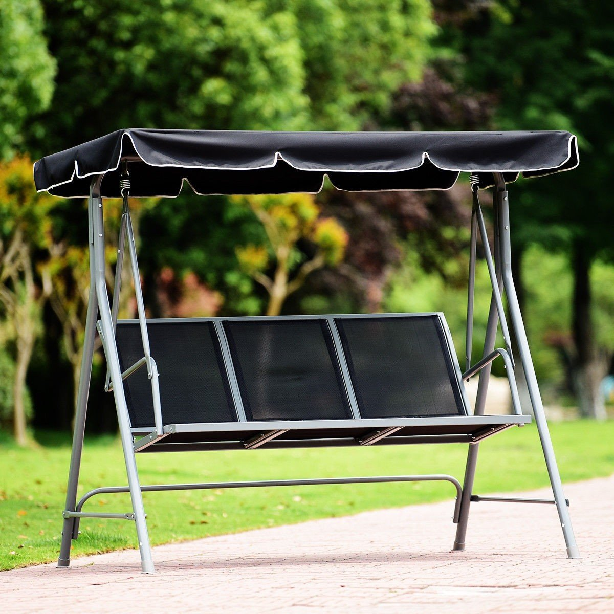 Dayanaprincess 3 Persons Patio Powder Finish Canopy Deck Swing Bench Heavy Duty Steel Construction Outside Chairs for Porch Garden Backyard Decor by Dayanaprincess (Image #4)