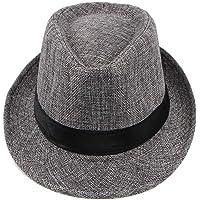 Romany Men Spring and Summer Panama Hat Linen Wide Brim Jazz Hat Outdoor Sun Hat
