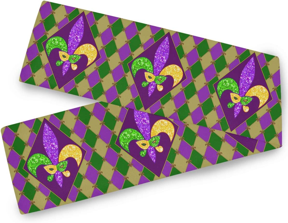 Oarencol Mardi Gras Zigzag Harlequin Fleur De Lis Table Runner 13x70 inch Double Sided, Polyester Rectangle Table Cloth for Wedding Kitchen Party Dining Home Decor