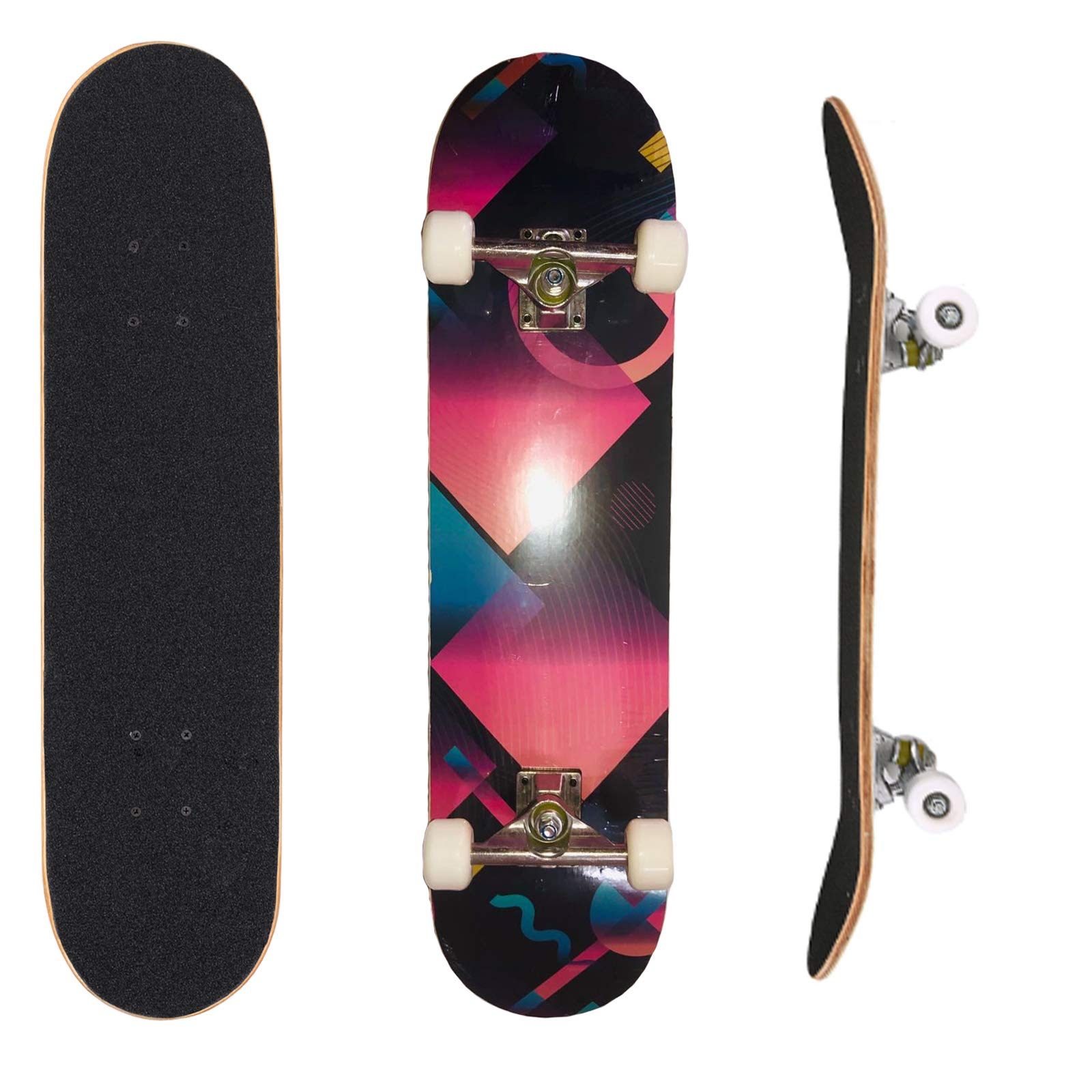 AMHoome 31'' Pro Skateboard Complete 9 Layer Canadian Maple Wood Full Size Double Kick Concave Tricks Skate Board for Chiren Kids Boys Girls 5 Up Years Old