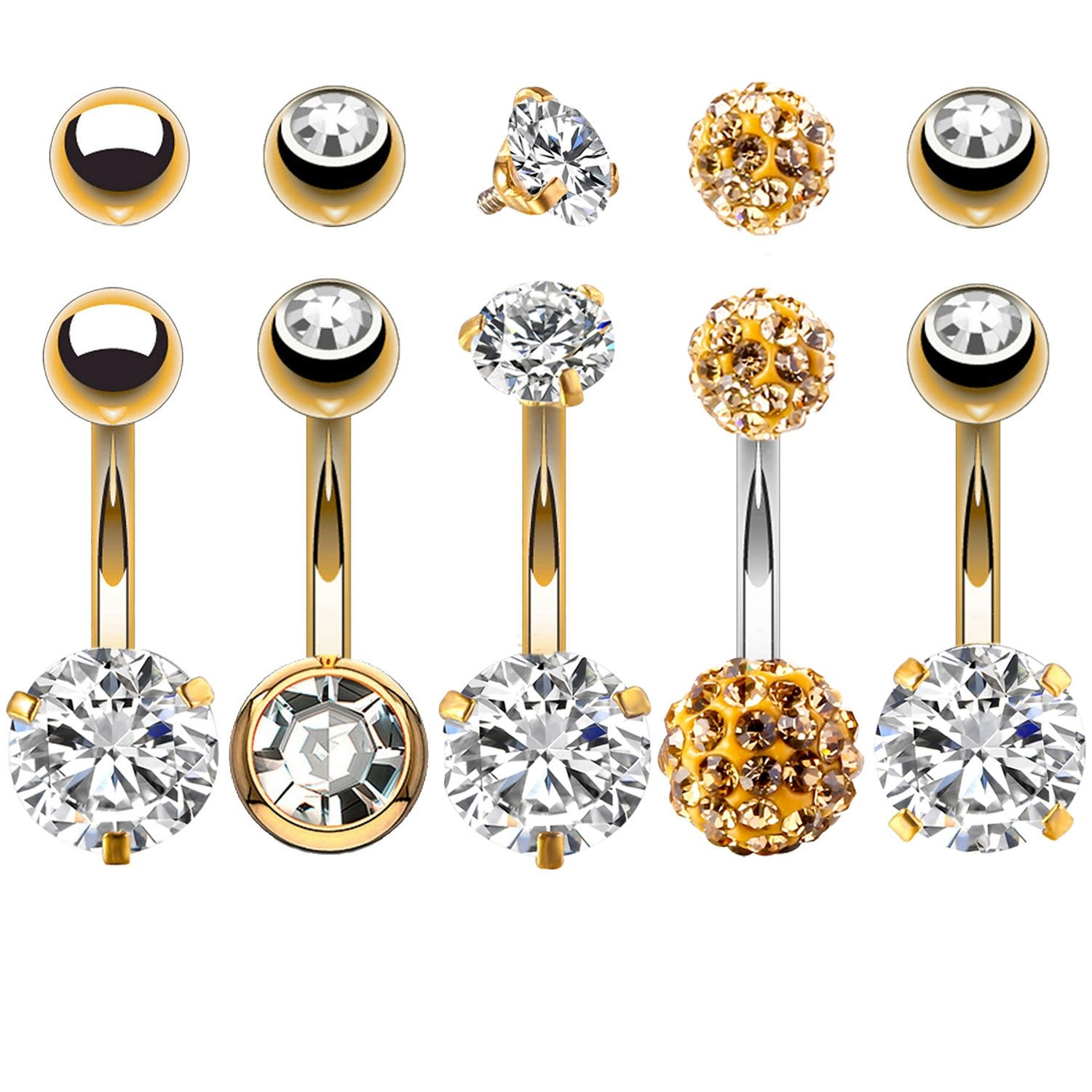 BodyJ4You 5PCS Belly Button Rings 14G Goldtone Stainless Steel CZ Navel Body Piercing Jewelry Set