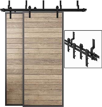 8ft Heavy Duty Double Door Sliding Barn Door Hardware Kit 2X Sliding Barn Door Bottom Adjustable Floor Guide Roller