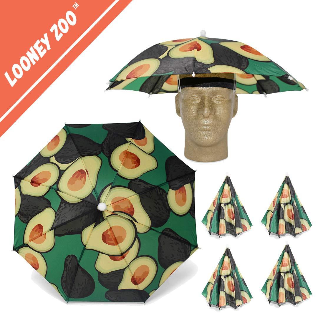 Looney Zoo    Umbrella Hat    Unique Colorful Umbrella Hats - Easy Elastic Fitting Umbrella Hat for Adults & Kids (The Avocado, 4 Umbrella Hats)