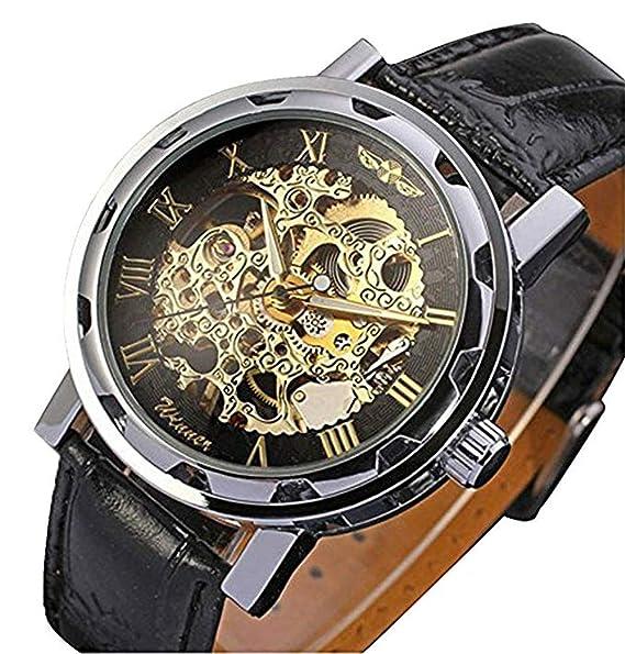 Reloj de pulsera negro Jechin para hombre con maquinaria vista, cuerda manual, cuero sintético, mecánico: Amazon.es: Relojes