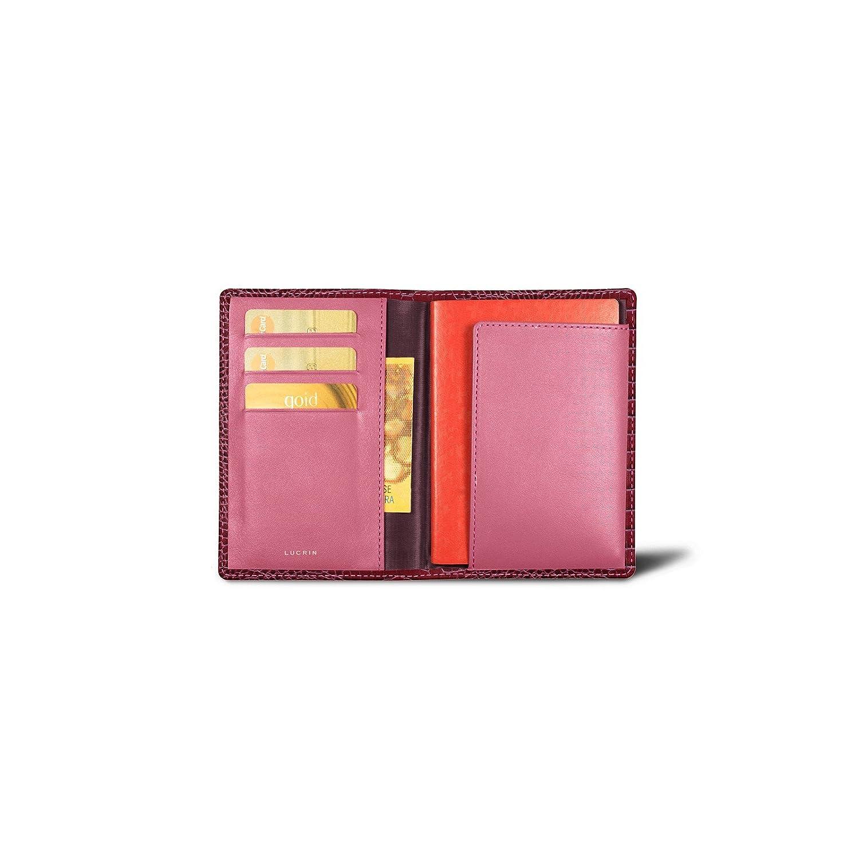 Lucrin – パスポートとロイヤルティカードホルダー – クロコダイルスタイルカーフスキン  フクシャ B00SYISYZS
