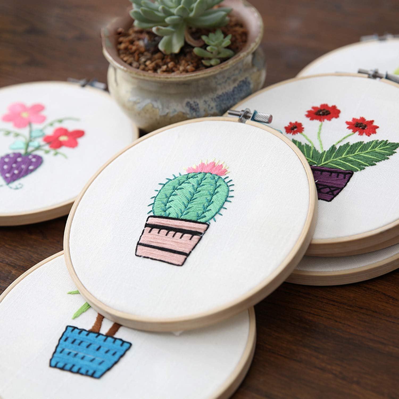 Include 10pcs Linen Needlework Fabric+1pc Transparent Pen Holder+6pcs Different Color Refills+50 Colored Floss+2pcs Embroidery Hoop for Decoration Embroidery Project Sanlykate Needle Embroidery Kits