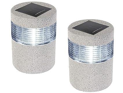 Set lampada solare da esterno effetto pietra sensore crepuscolare