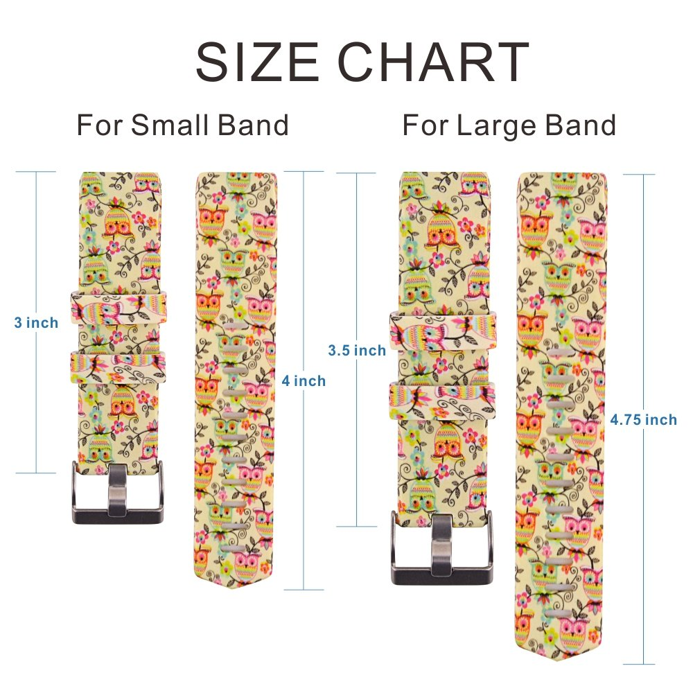 Fitbit Charge 2 Band,Soft Silicone Adjustable Replacement Sport Strap Printed Design Bands with Classic Buckle Fitness Accessory Wristband for Fitbit Charge2 (Pattern-15, Large (Wrist 6.5\