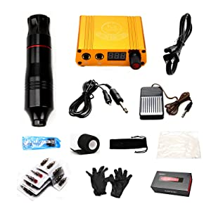 Kit - Rotary Motor Machine Pen no Ink 30 Cartridge Needles Grip Tape Clip Cord Tip Foot Pedal Power Supply Liner Shader Box for Starter Beginner Artists