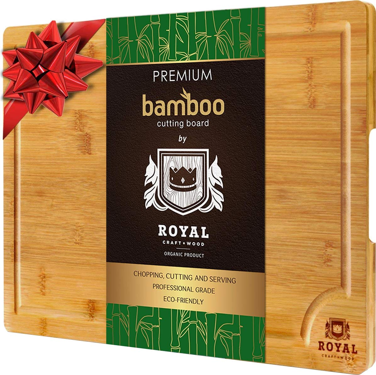 EXTRA LARGE Organic Bamboo Cutting Board with Juice Groove - Best Kitchen Chopping Board for Meat (Butcher Block) Cheese and Vegetables | Anti Microbial Heavy Duty Serving Tray w/Handles - 18 x 12 by Royal Craft Wood