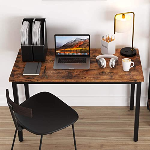IRONCK Industrial Computer Writing Desk, 47 Office Desk Metal Frame, Simple Study Table for Home Office Workstation Rustic Brown