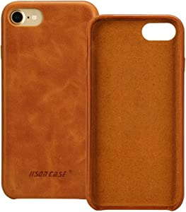 JISONCASE iPhone SE 2020 Case Genuine Leather iPhone 7 Hard Back Case Slim Fit for iPhone 8 Protective Cover Snap on Case for iPhone 7/8/SE [Brown]