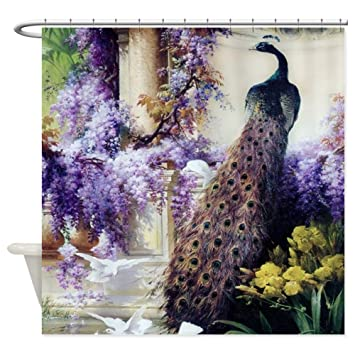 CafePress Bidau Peacock Wisteria Doves Decorative Fabric Shower Curtain 69quot