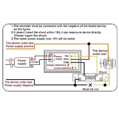 Droking Voltímetro/amperímetro digital de doble pantalla YB27VA-50A, DC 0V-100V/50 Amp, Shunt de +50 Amp/75mV: Amazon.es: Electrónica