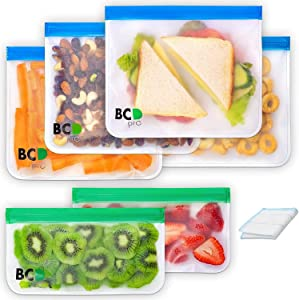 Reusable Storage Bags 6 Pack (4 Sandwich and 2 Snack) Durable Double Ziplock Extra Thick Leakproof Freezer Easy to Clean BPA and PVC free Baggies for Food Lunch Travel Kitchen School