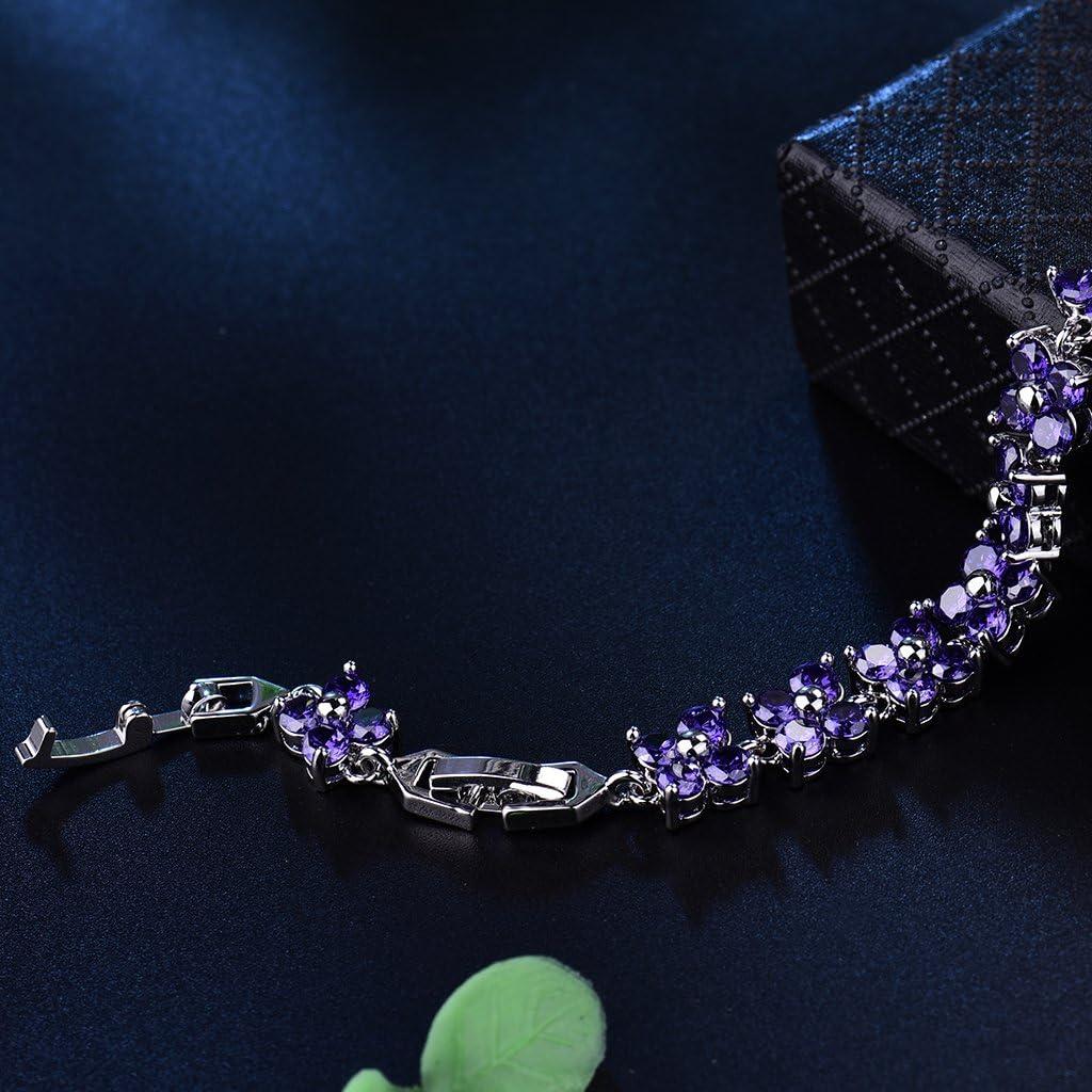 GULICX Bracelet Cristal Swarovski El/ément Carr/é Simple Bracelet Plaqu/é Or Zircon Cubique Bijoux pour Femme