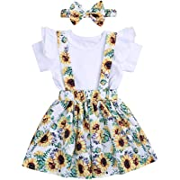 YOUNGER TREE 3PCS Toddler Baby Girls Clothes Ruffle Short Sleeve Top + Sunflower Skirt + Headband Outfit Floral Dress