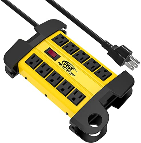 CRST 10-Outlets Heavy Duty Power Strip Metal Surge Protector with 15 Amps, 15-Foot Power Cord 2800 Joules for Garden, Kitchen, Office, School, ETL Listed 3165047 10-Outlet, Yellow Renewed