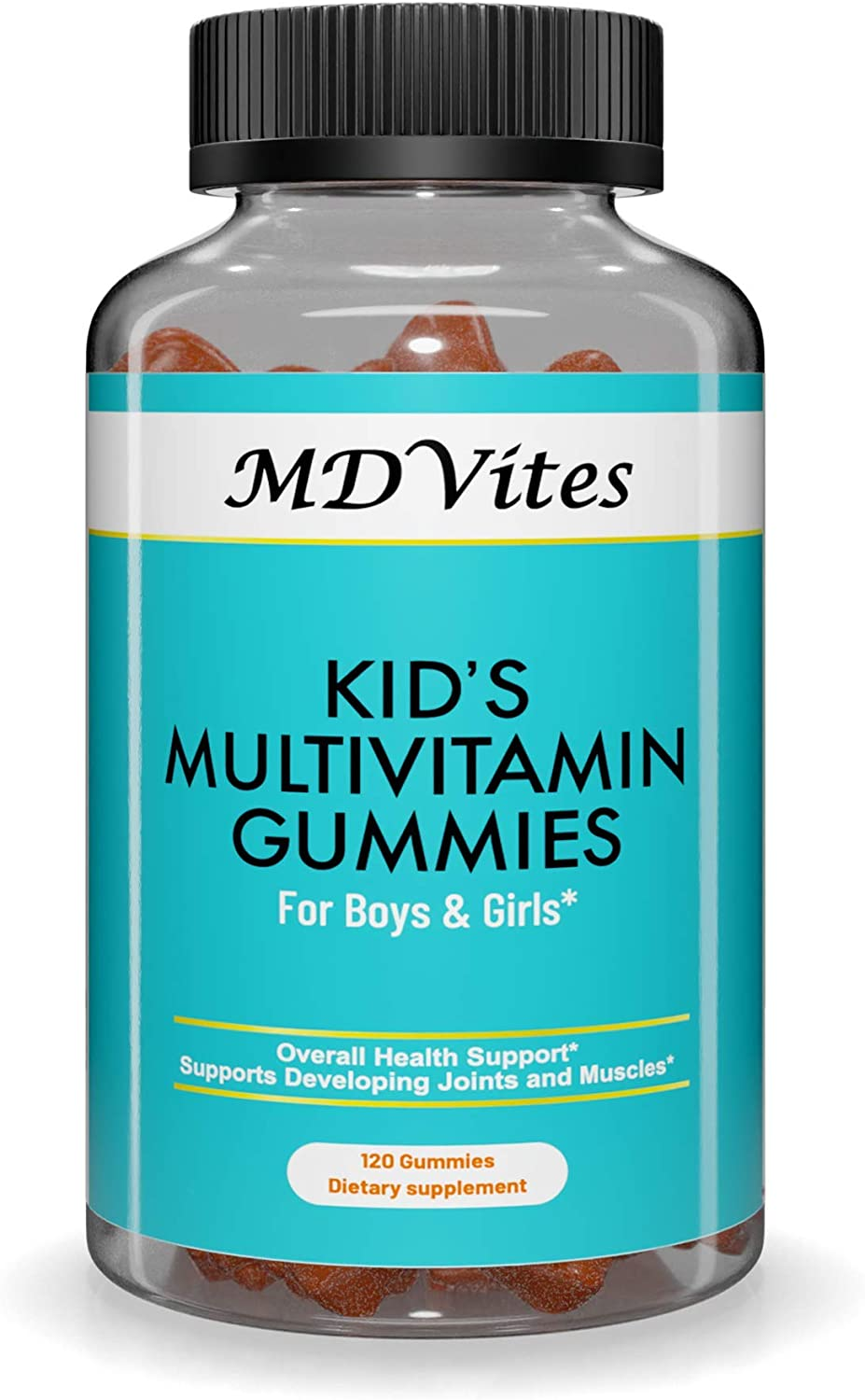 MDVites Kids Multivitamin Gummies, with Zinc, Vitamin C and D for Immune Support, Vitamins A, E, B6 and B12.