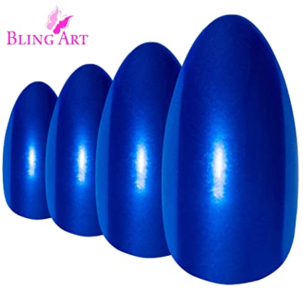 Uñas Postizas Bling Art Estilete Azul Perlado 24 Almendra Largo Falsas puntas acrílicas con pegamento