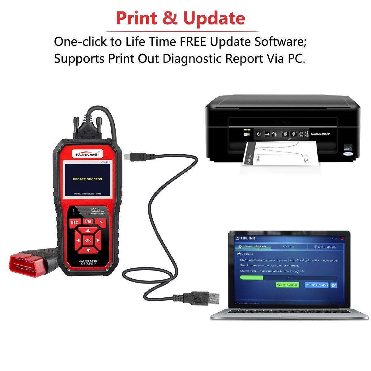 KONNWEI OBD2 Scanner OBDII Auto Diagnostic Code Scanner Universal Vehicle Engine O2 Sensor Systems Scanner OBD2 EOBD Scanners Tool Check Engine Light Code Reader for all OBD II Protocol Car Since 1996 by KONNWEI (Image #7)
