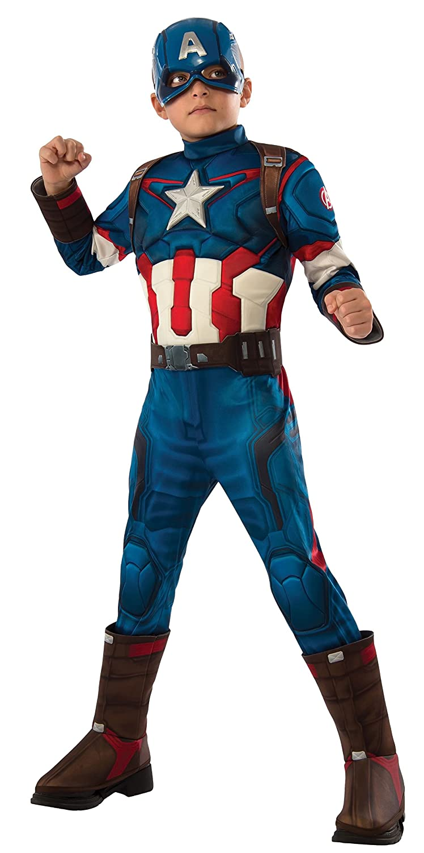 Rubies Capitán América - Disfraz deluxe, para niños, talla 8-10 años 610425-L: Amazon.es: Juguetes y juegos