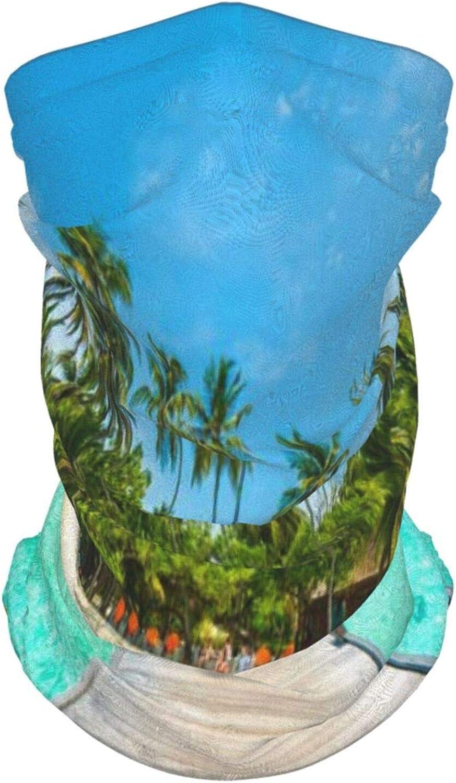 fgjfdjj Isla de Maldivas con playa Cubierta de madera Palmeras Imagen exótica de vacaciones Pasamontañas Mascarilla Cuello Polaina Helado Bandanas para puertas exteriores, Festival, Deporte