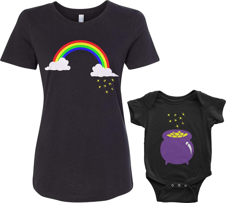 Rainbow /& Pot of Gold Infant Bodysuit /& Womens T-Shirt Matching Set Baby: 24M, Black|Womens: S, Black